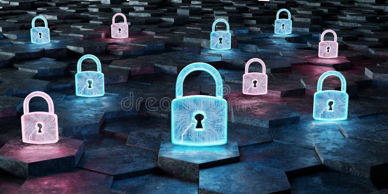 Icône bleue et rose noire de cadenas sur le rende du fond 3D d'hexagones illustration libre de droits