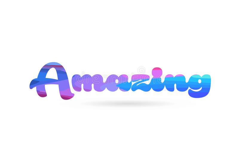 icône bleue rose stupéfiante de logo des textes de mot de couleur illustration stock