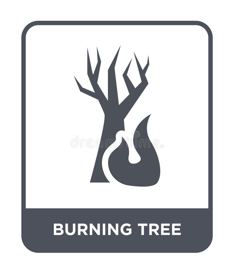 icône brûlante d'arbre dans le style à la mode de conception icône brûlante d'arbre d'isolement sur le fond blanc icône brûlante  illustration stock