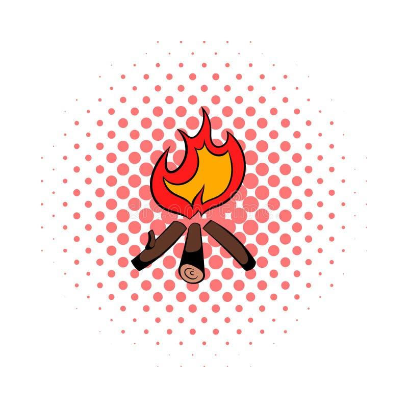 Icône brûlante de feu, style de bandes dessinées illustration stock