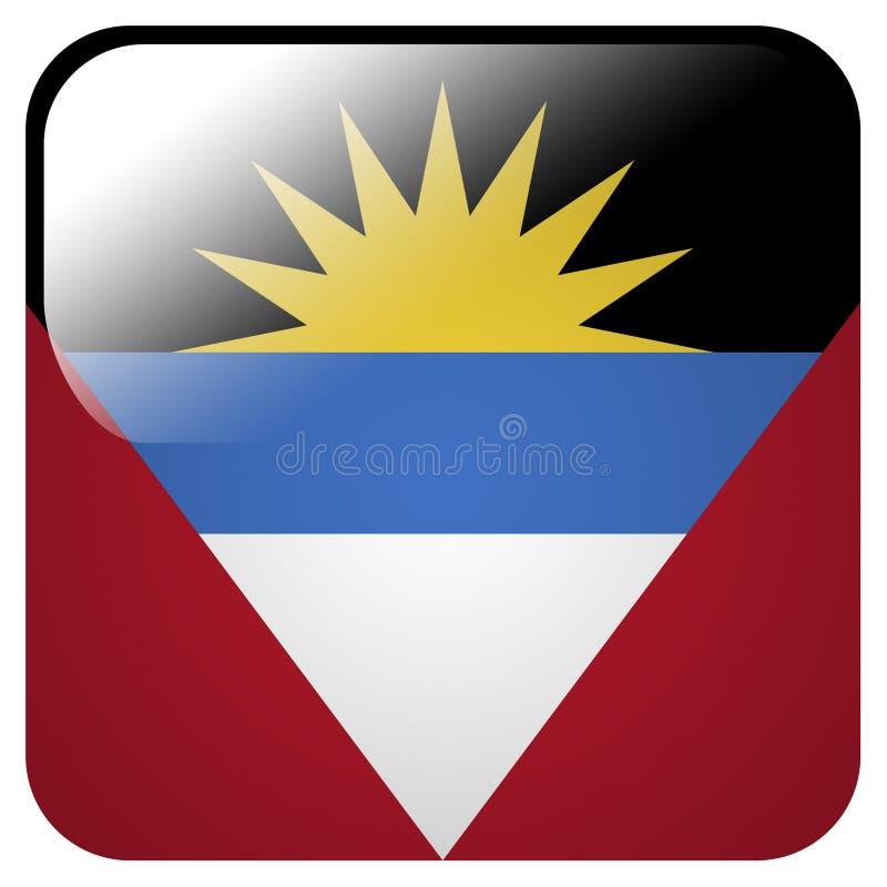 Icône brillante avec le drapeau de l'Antigua-et-Barbuda illustration de vecteur