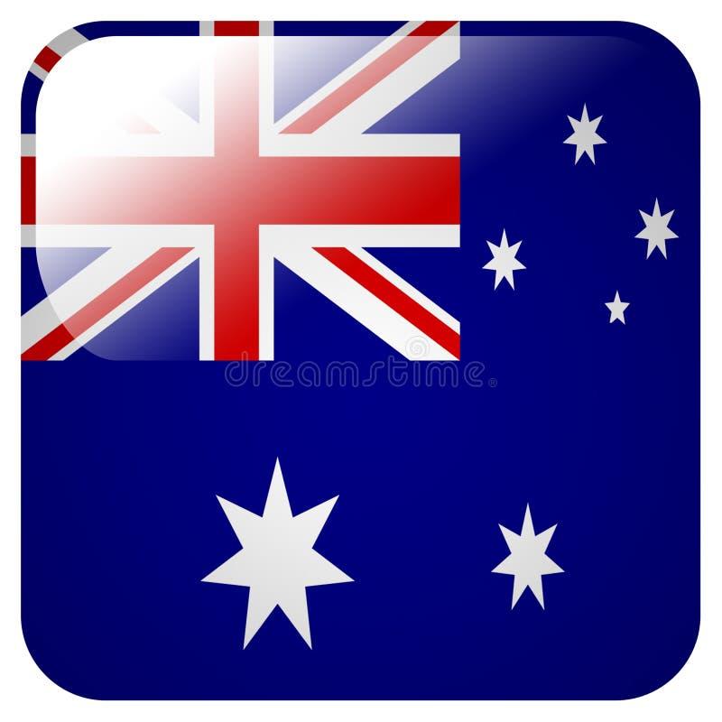 Icône brillante avec le drapeau de l'Australie illustration libre de droits
