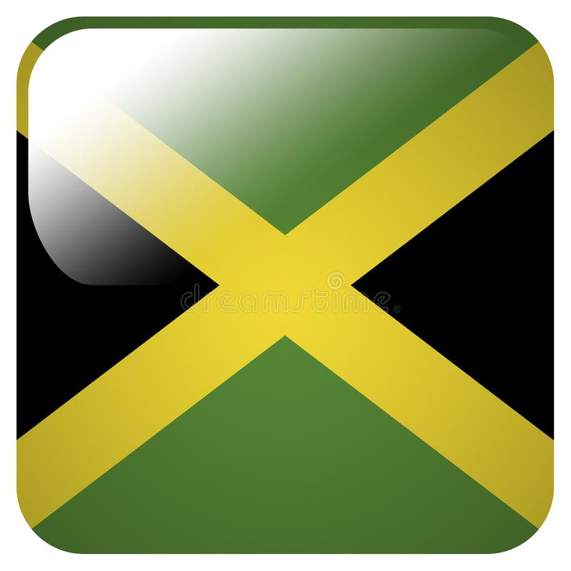 Icône brillante avec le drapeau de la Jamaïque illustration stock