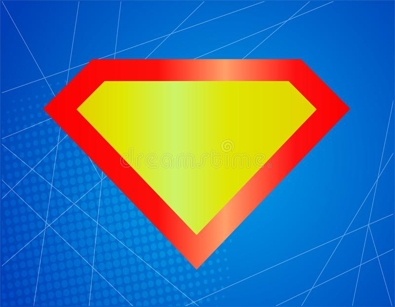 Ic?ne brillante c?l?bre forte de super h?ros, symbole, ?l?ment, signe Bouclier, surhomme d'embl?me illustration stock