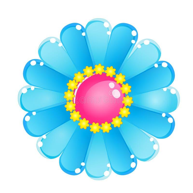 Icône brillante de gelée de ciel bleu de couleur de fleur illustration de vecteur