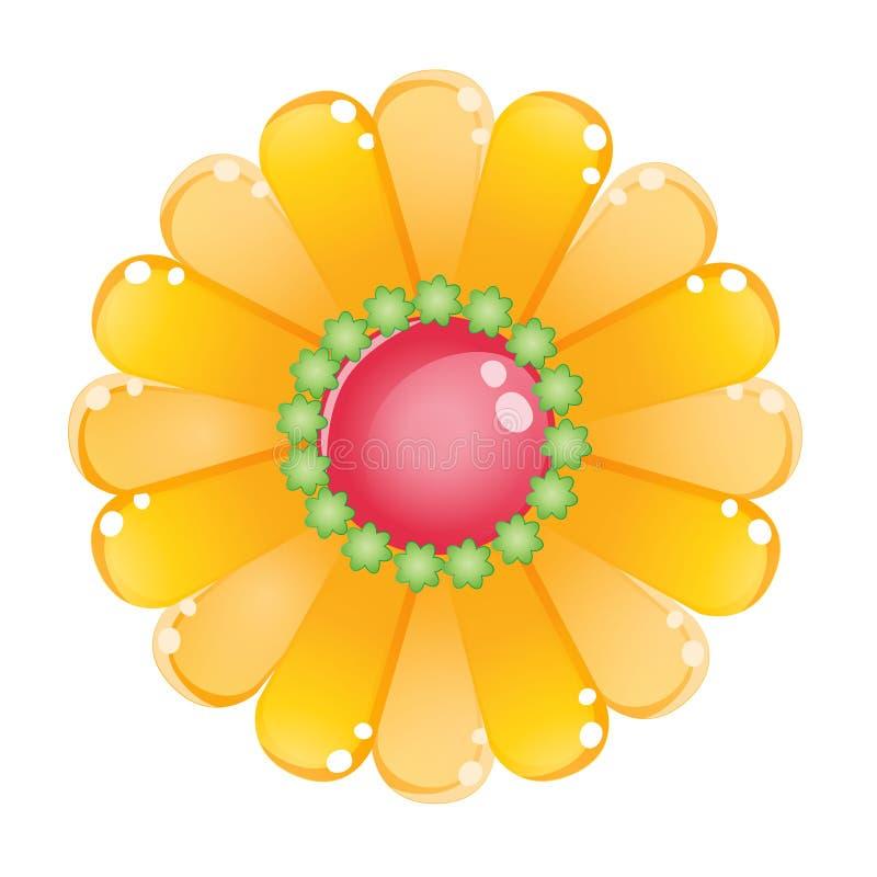 Icône brillante de gelée de jaune de couleur de fleur illustration de vecteur