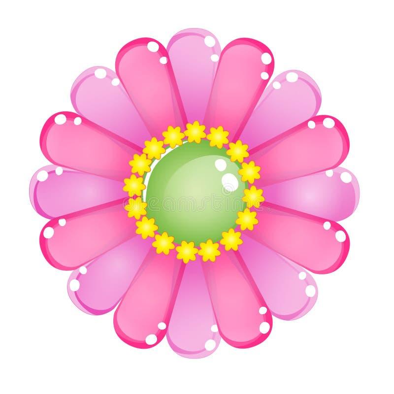 Icône brillante de gelée de rose de couleur de fleur illustration de vecteur