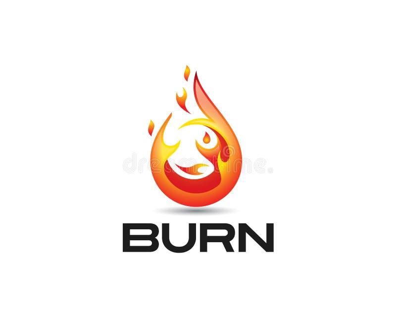icône brillante du feu 3D et texte noir de brûlure illustration stock