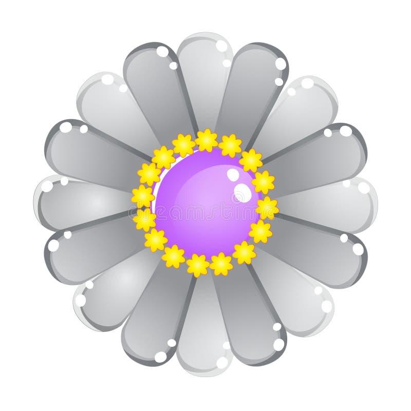 Icône brillante grise de gelée de couleur de fleur illustration de vecteur