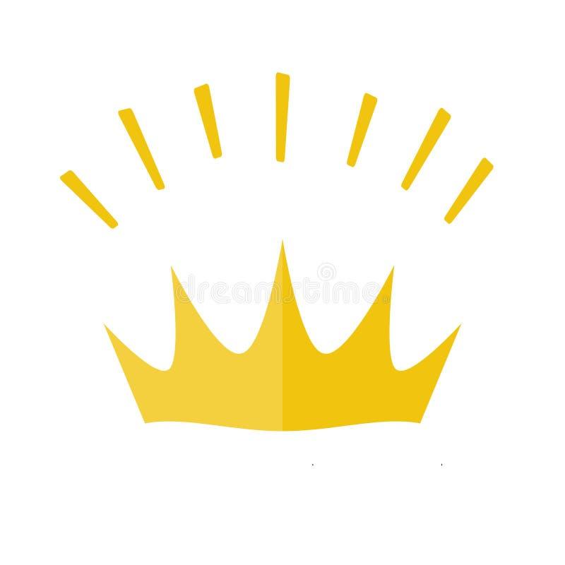 Icône brillante jaune de couronne d'or Symbole de vecteur de roi, royal illustration stock