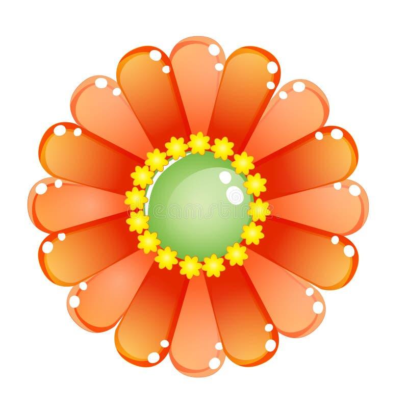 Icône brillante orange de gelée de couleur de fleur illustration stock