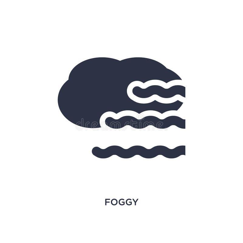 icône brumeuse sur le fond blanc Illustration simple d'élément de concept de météorologie illustration libre de droits