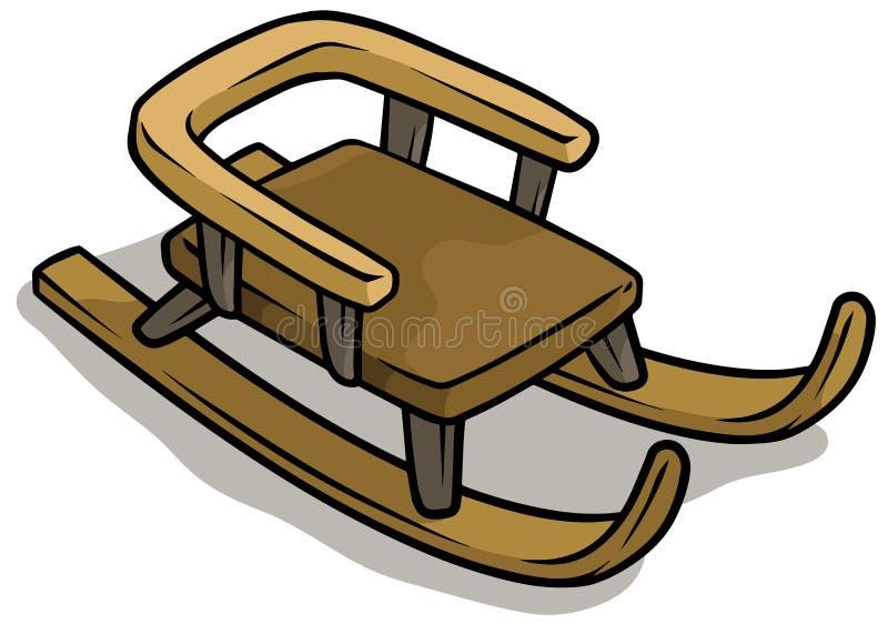 Icône brune en bois de vecteur de traîneau de bande dessinée illustration de vecteur
