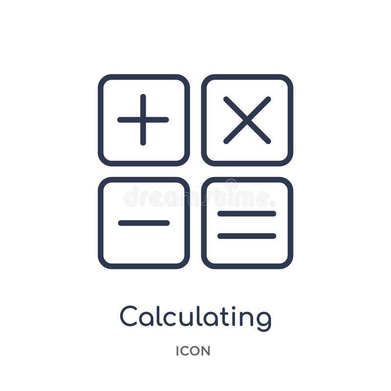 Icône calculatrice linéaire de la collection électronique d'ensemble de suffisance de substance Ligne mince calculant le vecteur  illustration de vecteur