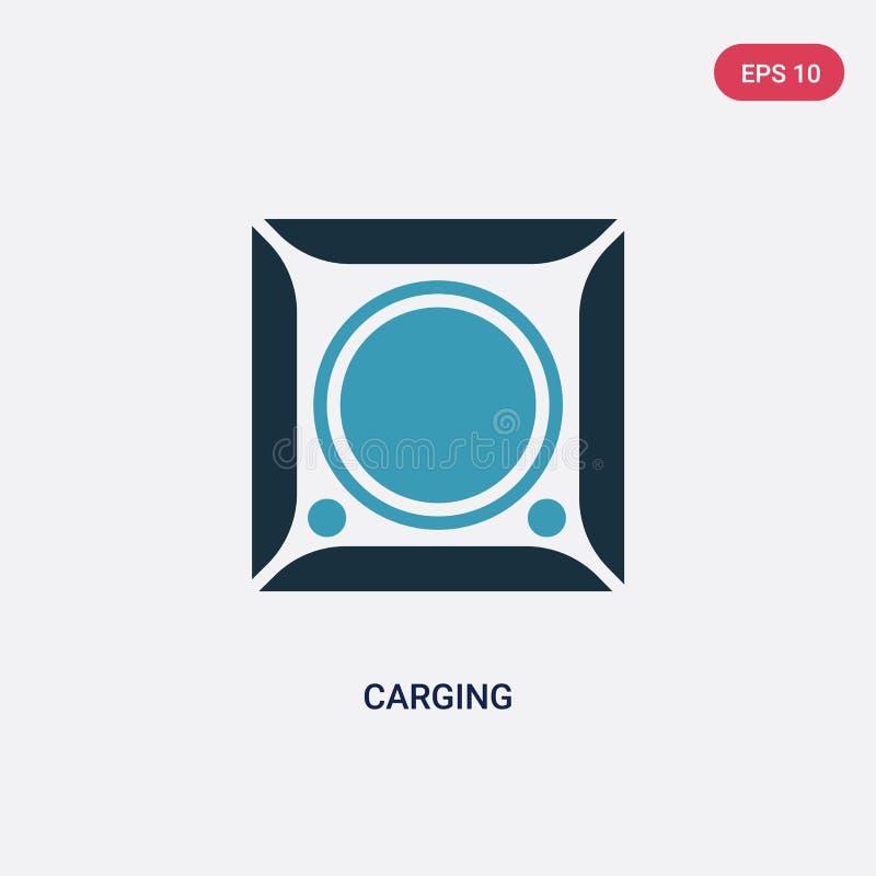 Icône carging de vecteur de deux couleurs de concept de photographie le symbole carging bleu d'isolement de signe de vecteur peut illustration de vecteur