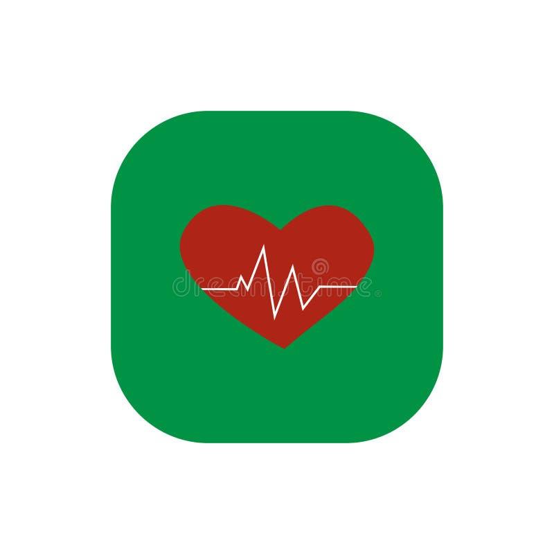Icône carrée cardiaque d'impulsion de coeur illustration libre de droits