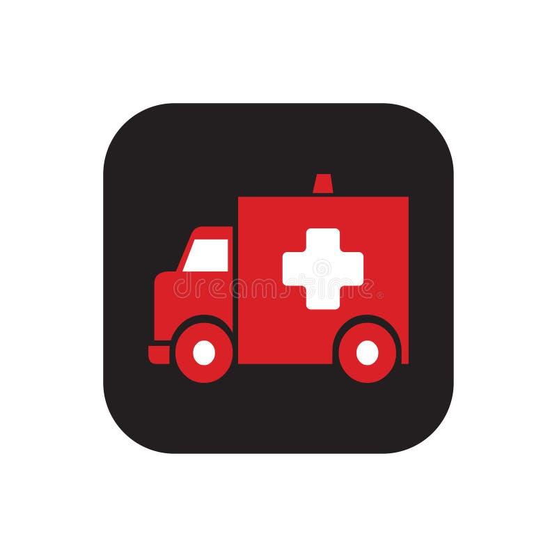 Icône carrée d'ambulance en couleurs illustration libre de droits
