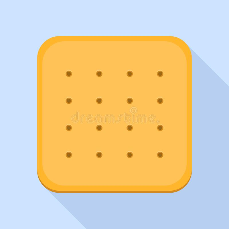 Icône carrée de biscuit, style plat illustration libre de droits