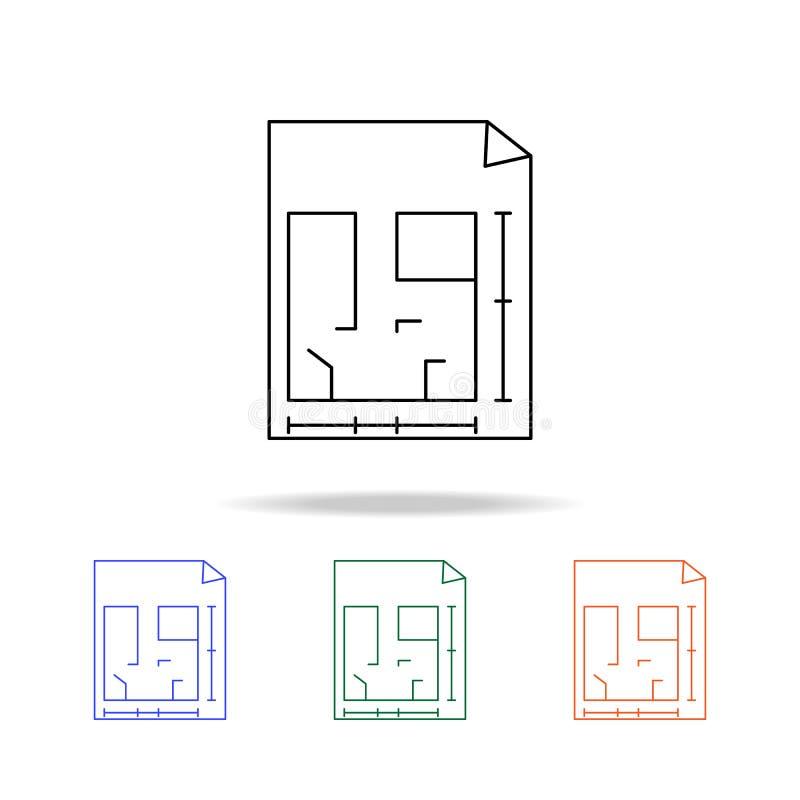 Icône carrée de maison de secteur Éléments des immobiliers dans les icônes colorées multi Icône de la meilleure qualité de concep illustration libre de droits