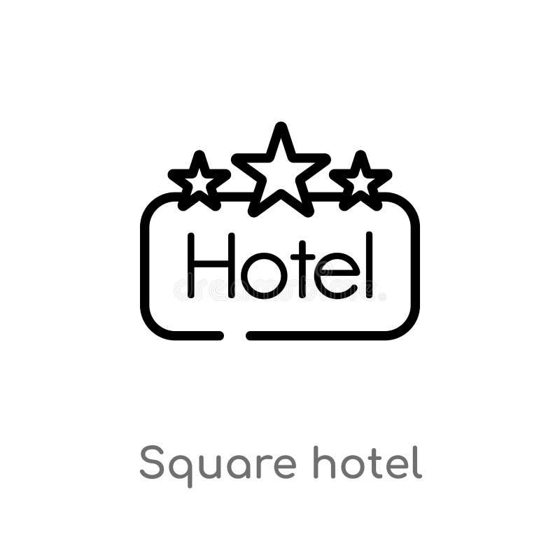 icône carrée de vecteur d'hôtel d'ensemble ligne simple noire d'isolement illustration d'?l?ment de concept de signes Course Edit illustration libre de droits