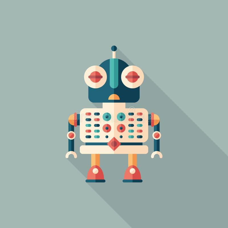 Icône carrée plate auxiliaire de robot avec de longues ombres illustration stock