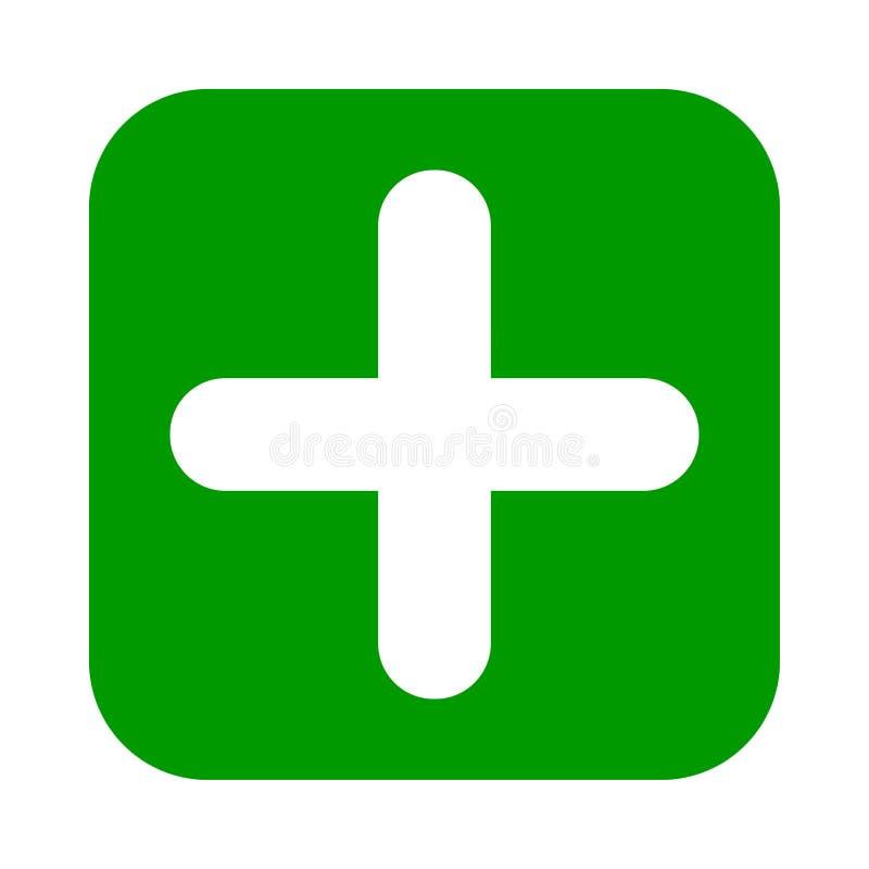 Icône carrée plate de vert de plus, bouton Symbole positif d'isolement sur le fond blanc illustration stock