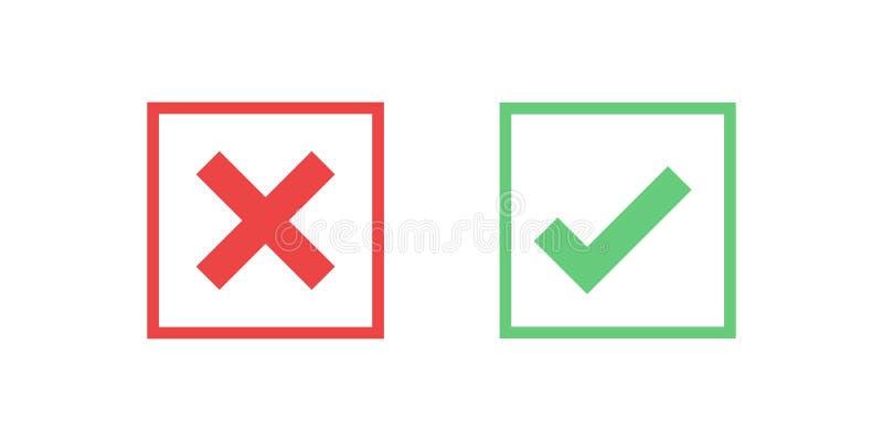 Icône carrée rouge et verte de coche d'icône d'isolement sur le fond transparent Approuvez et décommandez le symbole pour le proj illustration stock