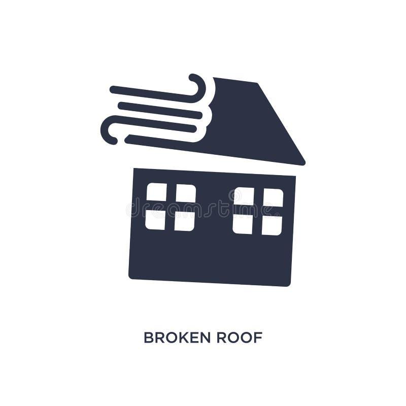 icône cassée de toit sur le fond blanc Illustration simple d'élément de concept de météorologie illustration libre de droits