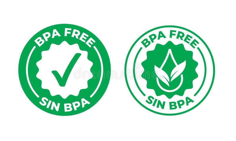 Icône certifiée par coche libre de vert de vecteur de BPA Timbre sûr de paquet de nourriture, péché sain BPA, timbre espagnol de  illustration de vecteur