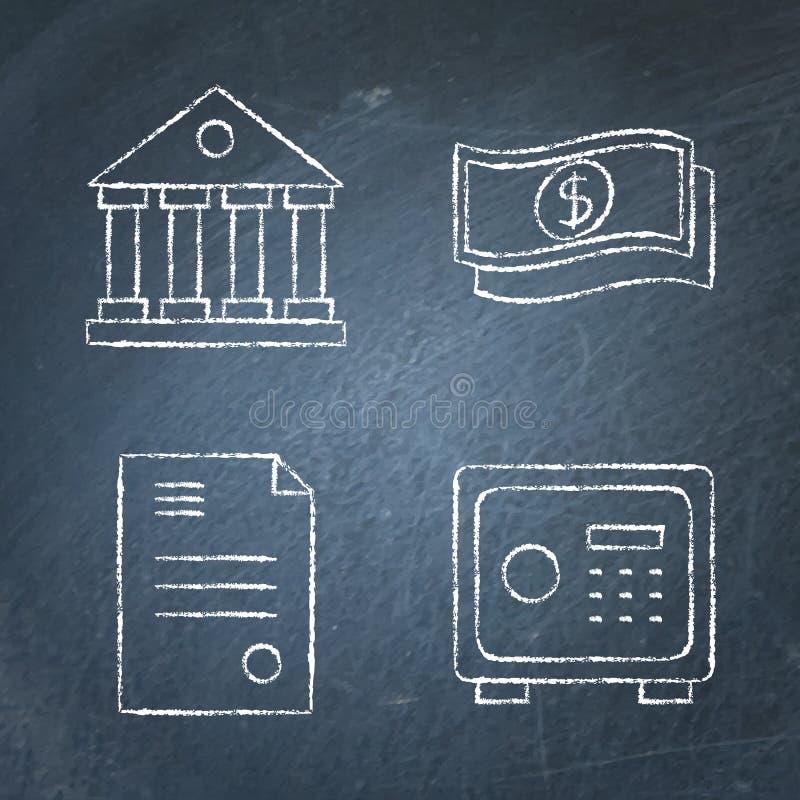 Icône Chalkboard banking et argent mise en ligne illustration de vecteur