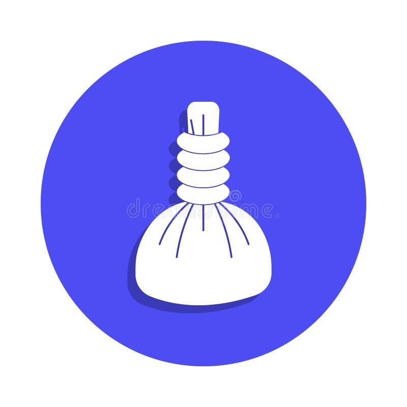 Icône chaude de compresse de station thermale dans le style d'insigne Un de l'icône de collection de coiffeur peut être employé p illustration stock