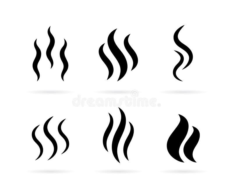 Icône chaude de vecteur de fumée de vapeur illustration stock