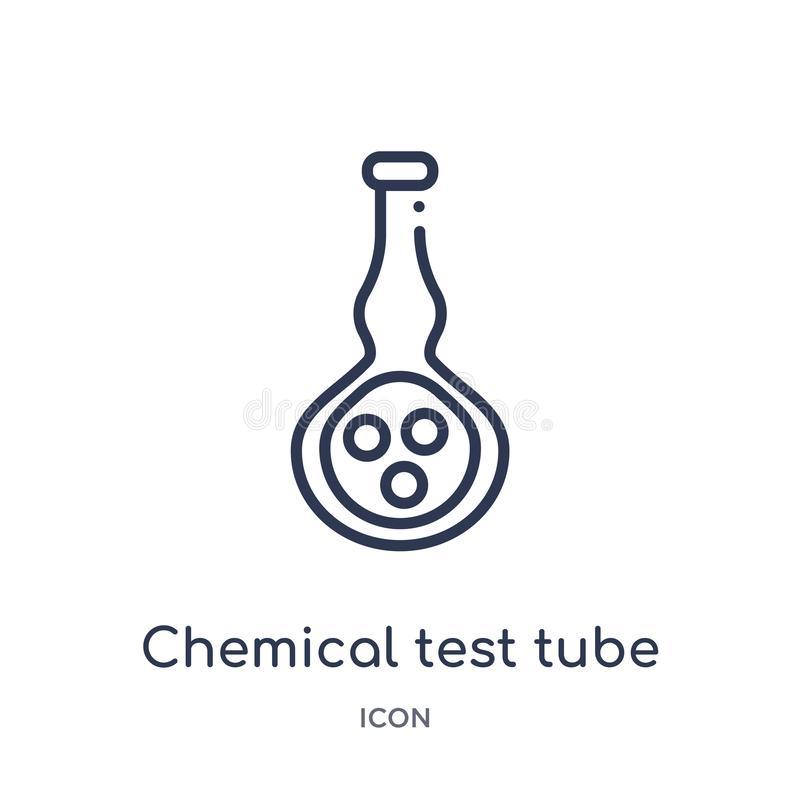 Icône chimique linéaire de tube à essai de collection d'ensemble d'éducation Ligne mince icône chimique de tube à essai d'isoleme illustration stock