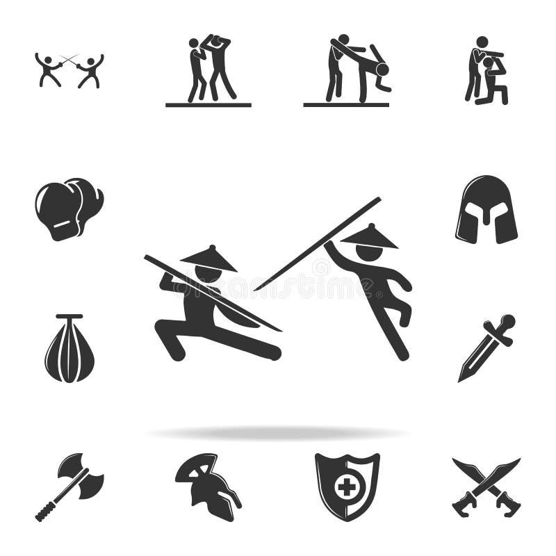 icône chinoise de combattants de combat Ensemble d'icônes d'élément de Cfight et de boxe d'entraînement Conception graphique de q illustration stock