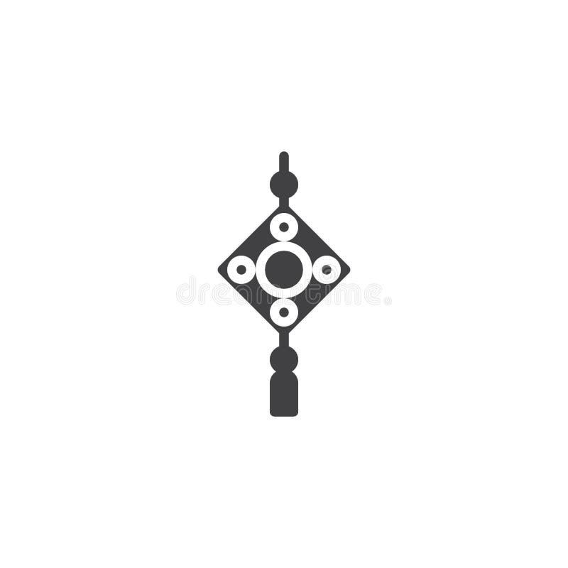 Icône chinoise de vecteur d'amulette illustration libre de droits