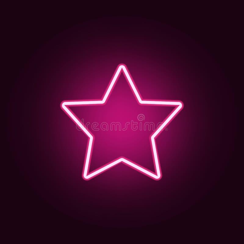 icône Cinq-aiguë d'étoile Éléments de Web dans les icônes au néon de style E illustration stock