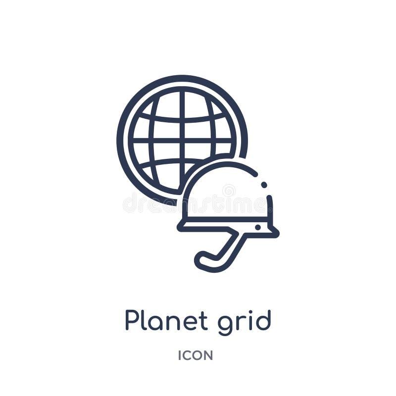 Icône circulaire de grille linéaire de planète de collection d'ensemble d'armée Ligne mince vecteur circulaire de grille de planè illustration libre de droits
