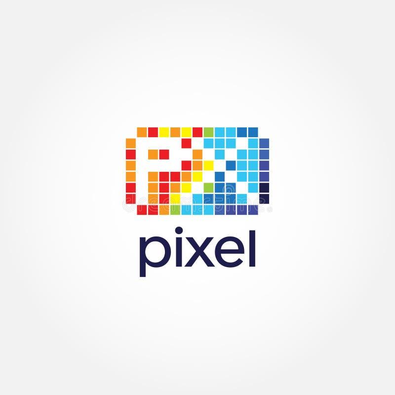 Icône colorée abstraite de symbole de signe de Dot Pixel Letter Type Logo illustration de vecteur