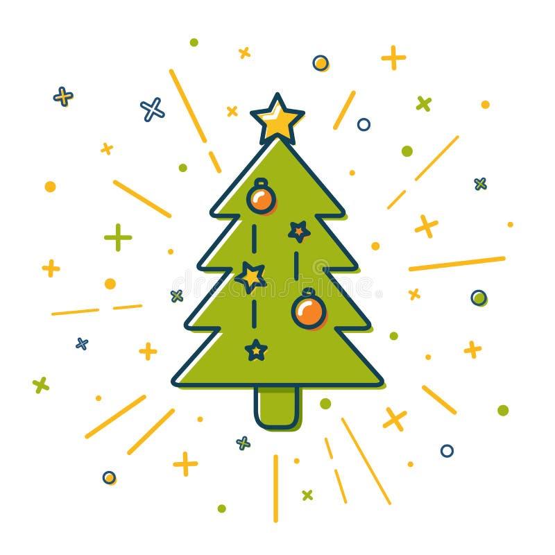 Icône colorée d'arbre de Noël dans la ligne style mince illustration stock