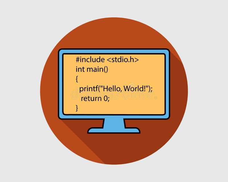 Icône colorée de bouton de langage de programmation sur le fond le beau bonjour a isolé le monde debout de femme blanc illustration libre de droits