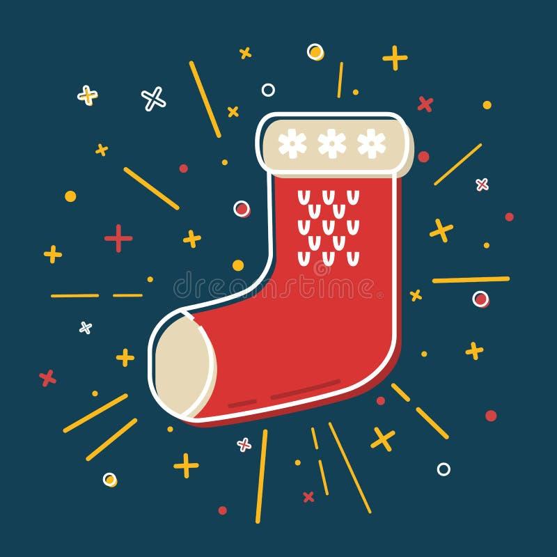 Icône colorée de chaussette de Noël dans la ligne style mince illustration libre de droits