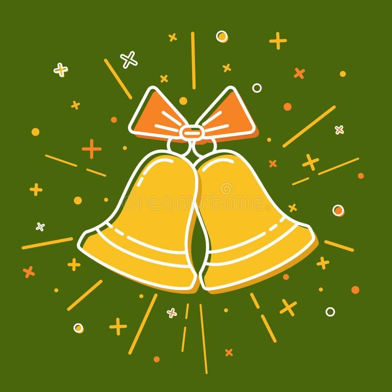 Icône colorée de cloches de Noël dans la ligne style mince illustration de vecteur
