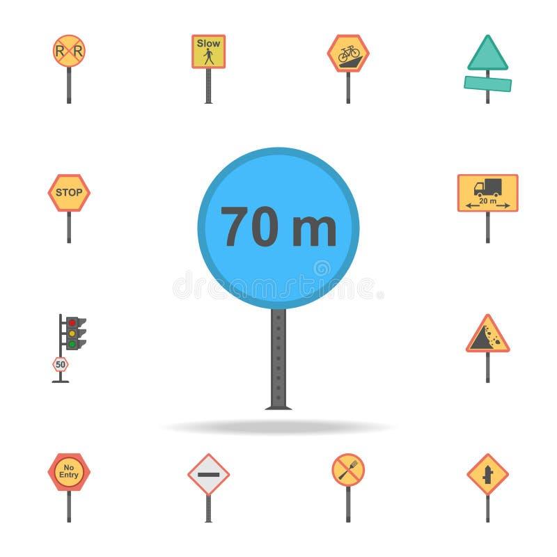 icône colorée de distance minimum de 70 mètres Ensemble détaillé d'icônes de panneau routier de couleur Conception graphique de l illustration libre de droits