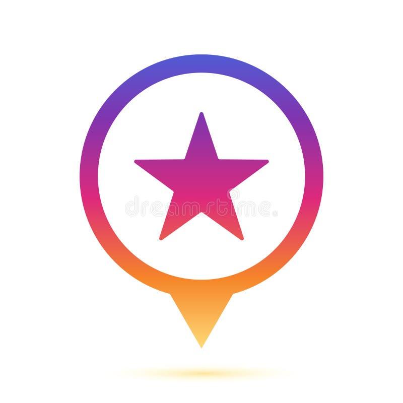 Icône colorée de goupille de cercle de connexion d'étoile photographie stock