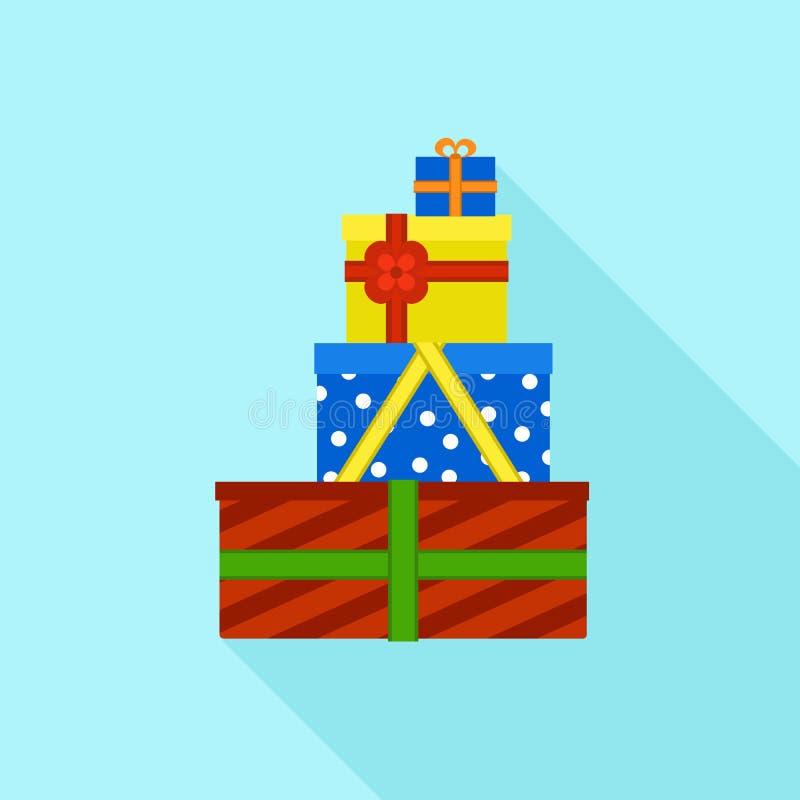 Icône colorée de pile de boîte-cadeau, style plat illustration de vecteur