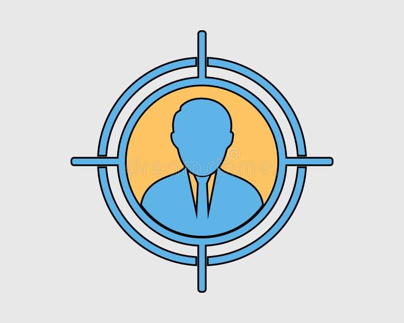 Icône colorée de public cible illustration stock