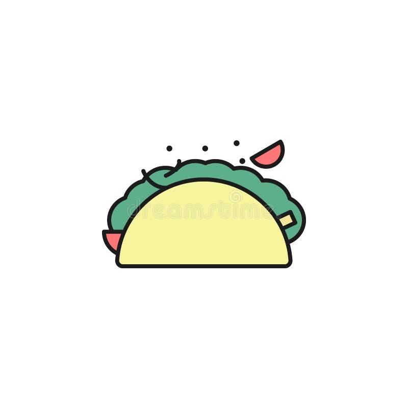 icône colorée par fachitos d'ensemble Élément d'icône de nourriture pour les apps mobiles de concept et de Web La ligne mince icô illustration stock