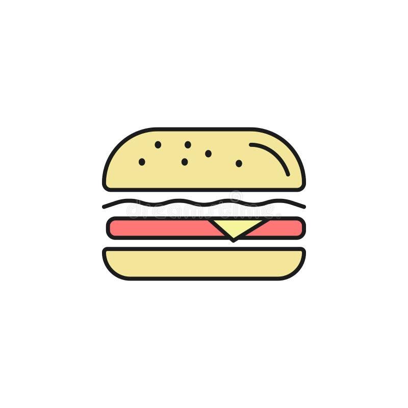icône colorée par hamburger d'ensemble Élément d'icône de nourriture pour les apps mobiles de concept et de Web La ligne mince ic illustration de vecteur