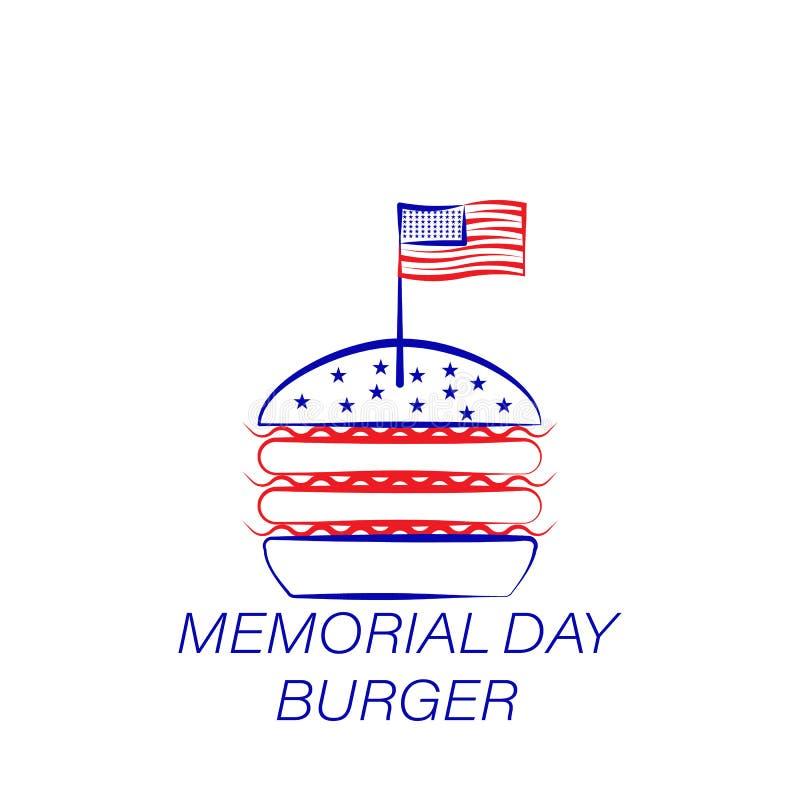 Icône colorée par hamburger de Jour du Souvenir Élément d'icône d'illustration de Jour du Souvenir Des signes et les symboles peu illustration de vecteur