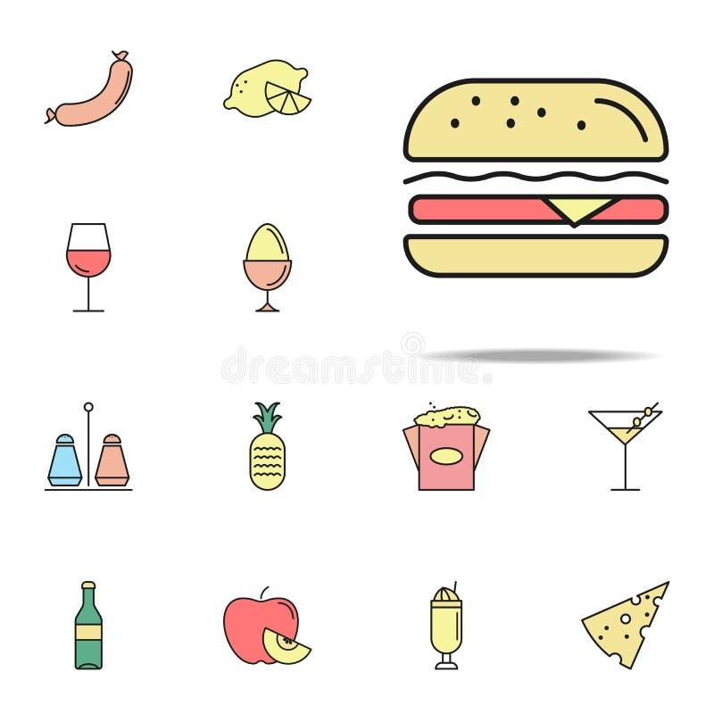 icône colorée par hamburger Ensemble universel d'icônes de nourriture pour le Web et le mobile illustration de vecteur